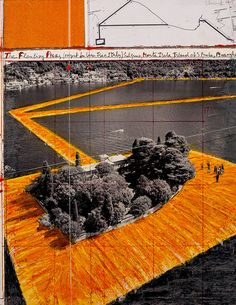 Preparatory drawing of Floating Piers by Christo and Jeanne-Claude.  Lake Iseo, lago d'Iseo, Monte Isola, isola di San Pietro. Info and guided tours: tour@milanoarte.net