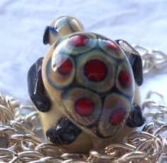 Glass Turtle Bead  Lampwork Charm Bead Sea by SilverByTheSea, £15.00