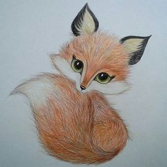 37 super Ideas for art dessin renard Cute Animal Drawings, Pencil Art Drawings, Art Drawings Sketches, Easy Drawings, Cute Fox Drawing, Adorable Drawings, Fox Art, Painting & Drawing, Fox Painting