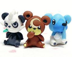 Pancham + Teddiursa + Cubchoo Handmade Polymer Clay Figurine Pokemon