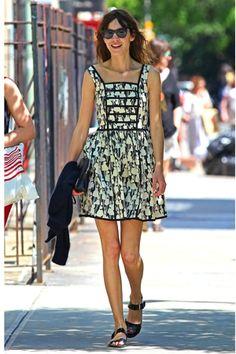 Alexa Chung in a print Orla Kiely summer dress. (SS12 Cotton Blend Flower Girl Sleeveless Dress in Liquorice.)