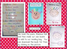 Rainbow Names by D. Jump.  This is a great way to practice learning color words.  Also a great project for Open House
