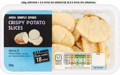Asda Crispy Potato Slices Syns Crispy Potatoes, Sliced Potatoes, Potato Slices, Slimming World Syns, Asda, Oven, Snacks, Fresh, Dinner