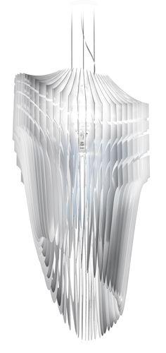 "monochrome pendant lamp ""Aria"" in white | lighting . Beleuchtung . luminaires | Design: zaha hadid |"