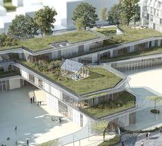 1° Lugar - Projeto de Escola Primária e Residência Estudantil / Chartier Dalix…
