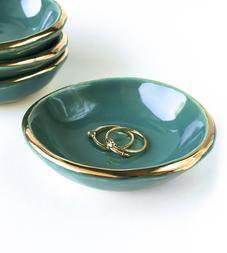 Teal Gold Rimmed Ceramic Dish