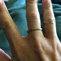 added a photo of their purchase Personalized Christmas Gifts, Personalized Rings, Stackable Name Rings, Mom Ring, Mixed Metals, Hand Stamped, Gifts For Mom, Gold Rings, Handmade Jewelry