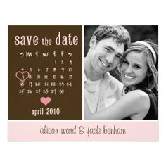 "April Calendar ""Save the Date"" Personalized Invites"