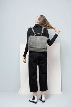 ON SALE  This leather backpack is A modern convertible style. This style is roomy with enough space for daily essentials and extra. Can fit an IPAD, 17 laptop, A4 files, books, magazines, cosmetic bag as well as many accessories.