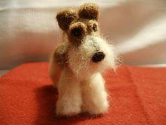 Artist Needle Felted Wire Hair Fox Terrier Sculpture Dog - Mimi. $95.00, via Etsy.