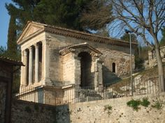 The Tempietto del Clitunno (Temple of Clitumnus) is a small paleochristian church that sits along the banks of the Clitunno River near the town of Campello sul Clitunno between Spoleto and Trevi, Umbria, Italy. In 2011, it became a UNESCO World Heritage Site as part of a group of seven inscribed as Longobards in Italy. Places of the power (568-774 A.D.).