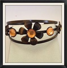 Vintage Bronze Flower Cuff Bangle | eBay