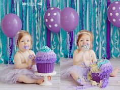 #boydandolsonphoto purple and teal birthday smash cake photography