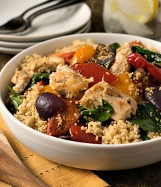 Grilled Chicken with Roasted Vegetables and Whole Wheat Couscous