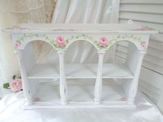 ROMANTIC ARCH SHELF hp roses chic shabby vintage cottage hand painted wall table #Vintage #CottageChic