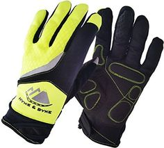 Hyke & Byke Hi-Vis Touchscreen Full Finger Gloves - The Brightest, Safest, Most Comfortable High Quality Gel Padded Gloves for Men's or Women's Cycling - Great for Jogging, Running, Hiking, Camping, Driving, Mountain Bike Riding, and Cool Weather Sport Activities - http://mountain-bike-review.net/products-recommended-accessories/hyke-byke-hi-vis-touchscreen-full-finger-gloves-the-brightest-safest-most-comfortable-high-quality-gel-padded-gloves-for-mens-or-womens-cycling-g