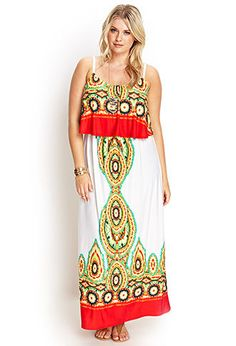 Kaleidoscope Flounce Maxi Dress | FOREVER21 PLUS - 2000060801