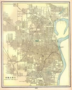 1901 Antique Omaha Map Vintage Omaha Nebraska City Map Gallery Wall Art 4022