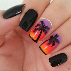 Pretty summer sunset and palm tree nails