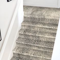 Love this animal print stairway carpet by Stanton in King Cheetah, color Metal. This is a great update option for the holidays🎄 to add a pop of color and style to your home! Come shop with us at any of our locations for you carpet and flooring needs! Stair Railing Kits, Carpet Stair Treads, Stair Carpet Protector, Stairway Carpet, Patterned Stair Carpet, St Anton, Stanton Carpet, Stair Mats, Metal Stairs