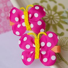 Bright Butterfly Hair Bows in Hot Pink Yellow by MyLittlePixies, $9.00