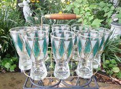Vintage Mid Century Modern Party 60s 50s Retro Glam Mod Bar Glasses | eBay