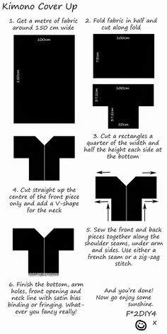 (insp for doing hi-low hem o kimono; use pic one for back and pic two for front; hem accordingly) Fashion to DIY for: DIY: Kimono Cover Up Diy Clothes Kimono, Diy Clothing, Sewing Clothes, Clothing Patterns, Sewing Patterns, Doll Clothes, Shirt Patterns, Dress Patterns, Sewing Hacks