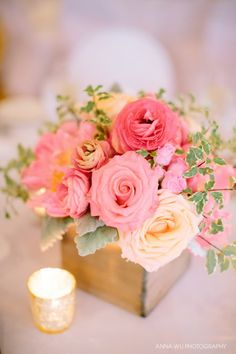 Anna Wu Photography. Vale of Enna flowers. Chevy Chase Country Club. Rose. Spray Rose, Ranunculus. Peony. Dusty Miller. Mini Variegated Pittosporum. Coral, Pink, Hot Pink, Peach, Grey, and Green. Centerpiece. Chicago Wedding.