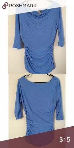 Swoop Neck Blouse This periwinkle swoop neck blouse is great for dressing up or down. With 3/4 sleeves it's really comfortable. And the swoop neck makes it easy to be an off the shoulder wear as well! H&M Tops Blouses