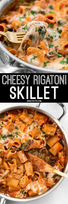 This Cheesy Rigatoni Skillet is a fast comfort meal for when you need dinner on the table fast! Like a fee-form lasagna packed with mushrooms and spinach. @budgetbytes
