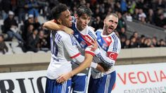 Alexandre #Lacazette (Olympique Lyonnais) Alexandre Lacazette (L) of Olympique Lyonnais is congratulated by teammates after scoring during the French Ligue 1 match against SC Bastia