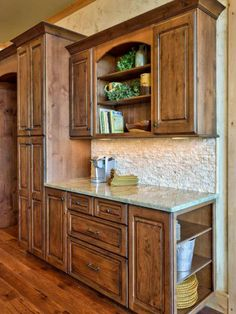 Love the backsplash - Rustic Lodge-Inspired Kitchen on HGTV