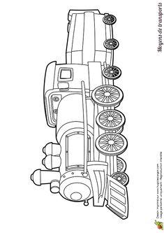 Image à colorier d'une tête de locomotive.