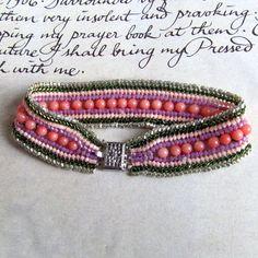Coral Beadwork Bracelet Layer Bracelet Bead Jewelry by MRSBAUBLES, $45.00