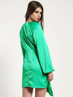 Buy Missguided Green Satin Front-Tape Shift Dress for Women Online in India Green Shift Dress, Green Satin, Online Dress Shopping, Draped Dress, Missguided, Classic Looks, Dresses Online, Tape, Cold Shoulder Dress