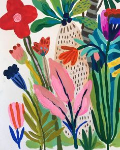 A little corner of a larger piece. Work in progress with acryla gouache. A little corner of a larger piece. Work in progress with acryla gouache. Art Inspo, Painting Inspiration, Art Et Illustration, Floral Illustrations, Art Floral, Charcole Drawings, Gouache Painting, Abstract Flowers, Art Design