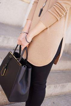 Camel Sweater, Black Leggings, Fendi 2Jours Bag