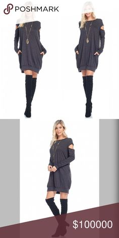 Arriving soon! Charcoal sweatshirt dress w/pockets FRENCH TERRY CUT OUT ARM TUNIC DRESS WITH SIDE SEAM POCKETS Dresses