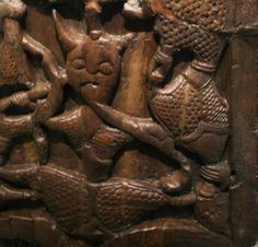 Woodcarved figures from Oseberg mound grave, Norway c 834. Horned or horn helmet figure. Exhibited at the Vikingship Museum in Oslo, Norway.