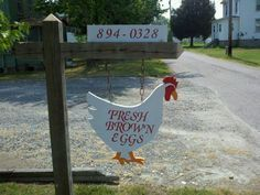 """fresh eggs for sale Eggs """"Eggs for Sale"""" sign ~ let's see yours! Pet Chickens, Raising Chickens, Chickens Backyard, Selling Eggs, Chicken Coop Signs, Chicken Coops, Eggs For Sale, Farm Stand, Chicken Lady"""