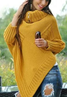 Great poncho with a warm turtleneck and sleeves. Poncho has two front motive applications from the queue. Red poncho looks like the picture. Poncho Sweater, Knitted Poncho, Poncho Knitting Patterns, Baby Knitting, Urban Outfitters Clothes, Hippie Outfits, Knitwear, Cool Outfits, Sweaters For Women