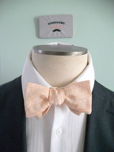Blush Peach Floral Stamped Bowtie lined with by HandsomeAndLace