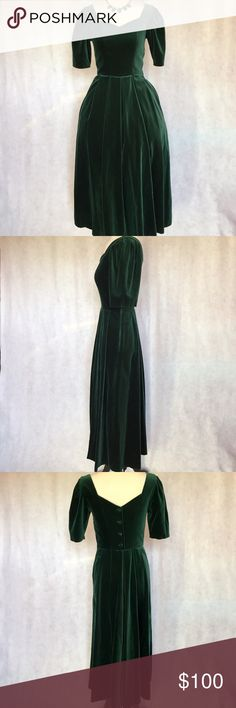 Vtg XXS XS Emerald Green Velvet Pleated Maxi Dress *NO Discount*  This vintage Laura Ashley dress is features sweetheart neckline, 3/4 puff sleeves, princess seams, fitted bodice, full, pleated bottom, and maxi length. Dress buttons down back and zips up left side. Solid emerald green velvet. Great heavy weight and lined in bodice.  Brand: Laura Ashley  Material: 73% Cotton/27% Viscose; Lining- 100% Polyester Size: US 4 (Fits like an XXS/XS) Bust: 30-33 (Plus Seams) Waist: 24-25 Hips: Full…