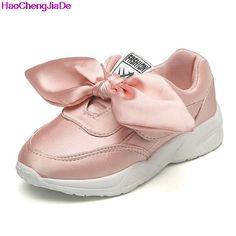 HaoChengJiaDe New Brand Bowknot Kids Casual Shoes Fashion Children PU Leather Autumn Flat Girls Princess Sneakers Soft Soles 118 #Affiliate