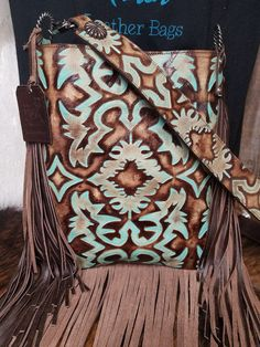 XLG Crossbody Bag, Boot Top Turquoise and Brown - Christmas Deesserts Cowhide Purse, Tooled Leather Purse, Leather Purses, Leather Bags, Leather Totes, Leather Backpacks, Leather Clutch, Brown Leather, Backpack Purse