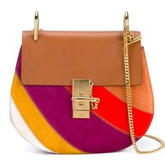 Chloé Small Suede Patchwork Drew Bag (€1.525) ❤ liked on Polyvore featuring bags, handbags, multi colored handbags, bohemian handbags, colorful patchwork handbags, horse purse and patchwork purse