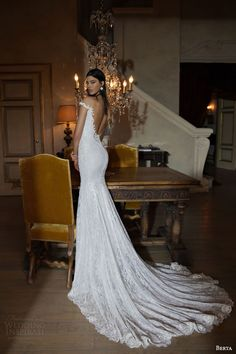 berta bridal 2015 off the shoulder sheath wedding dress low back view