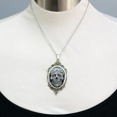 Handmade Gifts | Independent Design | Unique Jewelry Day of the Dead Sugar Skull Cameo Necklace
