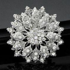 Vintage Strass Cristal Fleur Mariage Bridal Bouquet Brooch Pin Jewelry Gift