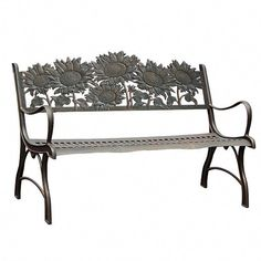Painted Sky Cast Iron Garden Bench #OutdoorGardenBench Cast Iron Garden Bench, Outdoor Garden Bench, Terrace Garden, Garden Beds, Outdoor Decor, Garden Benches, Diy Garden Projects, Cool Diy Projects, Wrought Iron Bench